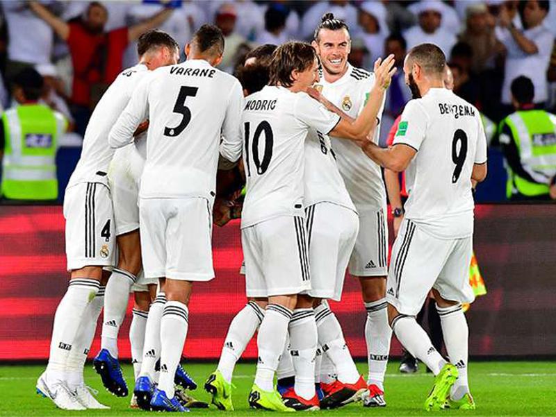 Jogadores do Real Madrid comemoram o tetracampeonato Mundial