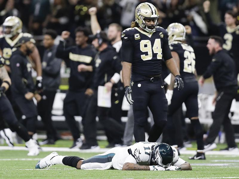 Saints viram diante dos Eagles e seguem vivos nos playoffs