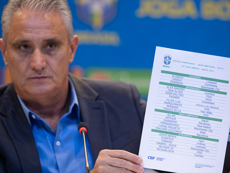 Quem são os 23 convocados pelo técnico Tite para a Copa América?