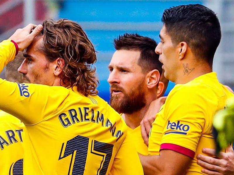 Trio de ataque brilha, Barcelona conta com tropeço do Real e assume a liderança